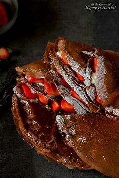 STRAWBERRIES & CREAM CHOCOLATE CREPES - HAPPY&HARRIED. #happyandharried #chocolate #crepes #strawberries #cream #Valentine #recipe