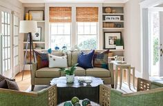Love these bamboo shades. I wonder if you can tint them another color? Like turquoise. Love the shelves around the window.