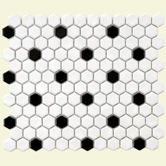 Create a classic bathroom with this vintage-inspired tile in black and white.