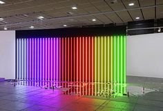lori hersberger   'johnny won't go to heaven', 2006 (neon, mirror glass, beer cans) installation view at art forum berlin