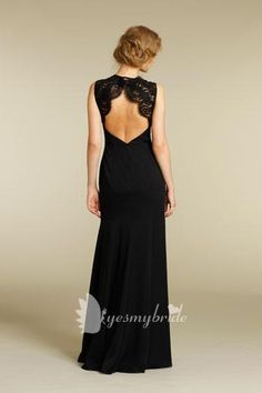 Gorgeous Black Chiffon Long Bridesmaid Dress with Lace Shoulder Straps and Open Back