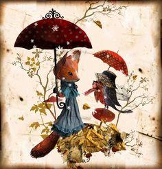 Bonjour Parapluie, carte postale MissClara, Coté Bord'eau Miss Clara, Fibre Art, Paper Artist, Mice, Childrens Books, Imagination, Whimsical, Illustration, Painting