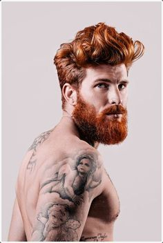 The similar brown color of hair and beard gives a very sexy look.