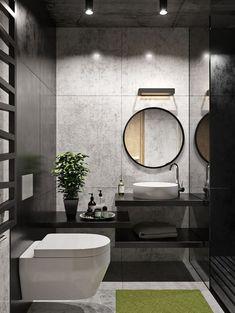 Санузел love the fabulous grey & black walls in this beautif Bathroom Layout, Modern Bathroom Design, Bathroom Interior Design, Bathroom Ideas, Modern Toilet Design, Bath Ideas, Bathroom Designs, Bathroom Renovations, Grey Bathrooms