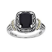 Shey Couture Genuine Onyx and Sterling Silver and 14K Gold Ring  - Shey Couture Genuine Onyx and Sterling Silver and 14K Gold Ring