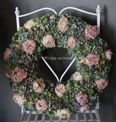 My homemade wreath with Hydrangeas & Peonies