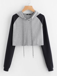 Contrast Raglan Sleeve Raw Hem Heathered Crop Hoodie - Contrast Raglan Sleeve Raw Hem Heathered Crop Hoodie Source by - Teenage Outfits, Teen Fashion Outfits, Outfits For Teens, Trendy Outfits, Girl Outfits, Crop Top Hoodie, Cropped Hoodie, Grey Hoodie, Jugend Mode Outfits