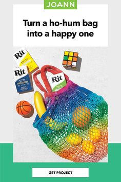 Got a plain mesh bag? Customize with color using Rit tie dye. Use it to go to the market or the beach & you'll rock the rainbow! Rit Tie Dye, Creative Skills, Joanns Fabric And Crafts, Easy Diy Projects, Step By Step Instructions, Craft Stores, Diy Fashion, Mesh, Rainbow