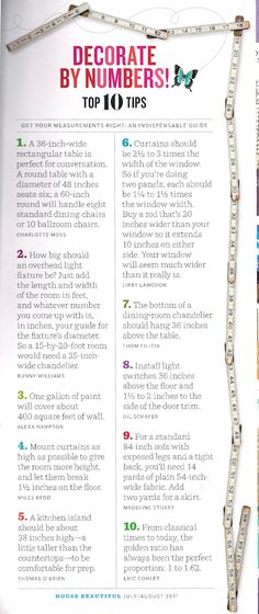 House Beautiful July August 2011 Decorate By Numbers