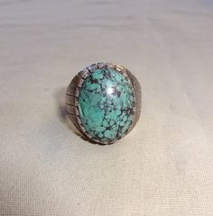 Signed EDITH KEE Vintage Navajo Sterling Silver & Webbed Turquoise RING, size 8