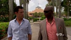 "Burn Notice 4x12 ""Guilty as Charged"" - Michael Westen (Jeffrey Donovan) & Vaughn Anderson (Robert Wisdom)"