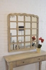 Here we have a Farmhouse styled multi panelled in cream, cream has aged paint finish, french style mirror. The design boasts timber detailing.. This particular mirror has an overall size of 3ft3 x 3ft (99cm x 91cm). This mirror will look fantastic In any room.