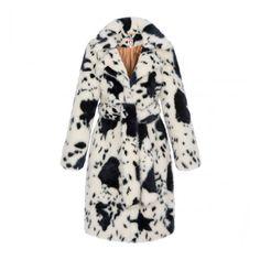 Esme Coat - Shop ($870) ❤ liked on Polyvore featuring outerwear, coats, faux fur coat, white coat, mid length faux fur coat, mid length coat and white fake fur coat