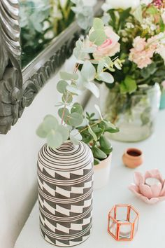 The People Shop owner Allison shares her Victorian style terraced new build in Kings Heath with a pastel pink and grey colour scheme and vintage details. Decor, Grey Color Scheme, Living Dining Room, Pastel House, House Interior, Accent Colors For Gray, Table Decorations, New Builds, Victorian
