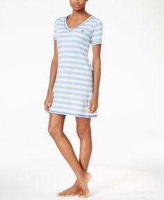 Tommy Hilfiger Striped Sleepshirt - Blue XS
