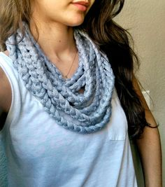 Cotton Infinity Rope Scarf Loopy Statement Cotton Necklace by TheSnugglery on Etsy