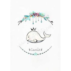 Une idée cadeau de naissance original sortant de l'ordinaire avec une illustration de baleine personnalisable avec le prénom du bébé, une affiche de naissance personnalisée pour garçon ou fille, une jolie aquarelle petite baleine couronnée et souriante
