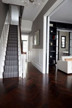 Victorian Hallway Uk Home Design Ideas, Renovations & Photos – Home Renovation Style At Home, Hall Flooring, Wood Flooring, Flooring Ideas, Wood Paneling, Wood Wainscoting, Garage Flooring, Entryway Flooring, Wall Panelling