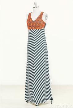 Gaddi Embroidered Chevron Maxi Dress