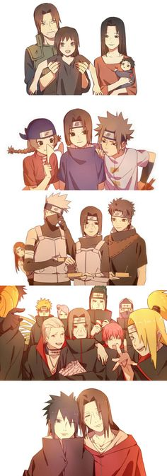 Uchiha Itachi and others. I love how captain yamato is poking his head out in the anbu picture
