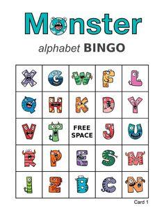 100 Monster Alphabet Bingo Cards, 1 per page, immediate pdf download, Halloween bingo, picture bingo, memory game Bingo Games, Card Games, Halloween Bingo Cards, Custom Bingo Cards, Alphabet Bingo, Memory Games, Work Party, I Am Game, Monsters
