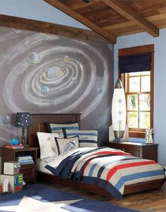 Fun Kid's Space Themed Bedroom Design Ideas. Find and save ideas about Space theme bedroom in this article. | See more ideas about Boys space rooms, Outer space bedroom and Boys space bedroom, Painting Ideas For Kids, Creative WallsCreative ArtSpace Theme Bedroom, ThemesBedroom Ideas Teen Boy Bedrooms, Kids Bedroom. #HomeDecorIdeas #HouseIdeas #BedroomThemes #KidsRoomDecor