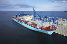 Maersk McKinney Møller w Gdańsku - wpłynięcie największego kontenerowca na świecie do DCT Gdańsk, 2013 rok