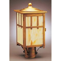 Raw Copper Medium Outdoor Post-Mount Lantern with Clear Glass - (In RC-Raw Copper)