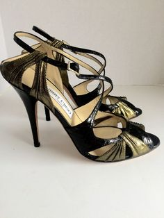 Jimmy Choo Black Snake Skin Strappy Sandals size 39.5 High Heels pumps Lance #JimmyChoo #Strappy