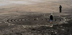 Beach labyrinth with extra stones