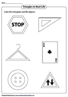 Coloring Real-Life Triangular Objects Introduction To Geometry, Triangle Worksheet, Geometry Worksheets, Real Life, Coloring, Objects, Drawings, Sketches, Drawing