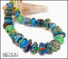 La Isla Bonita  51 Lampwork beads by Michou P by michoudesign, $330.00