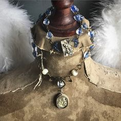 Antique French St. Anne of Beaupre Mercury glass and vintage rosary assemblage necklace ooak by Alpha Female Studio. www.alphafemalestudio.etsy.com
