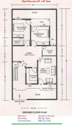5 marla house plan and map with detail 25x33 house plan for 35x60 house plans