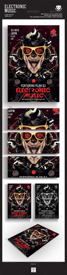 Electronic Music Flyer Poster   #GraphicRiver        Featured Flyers