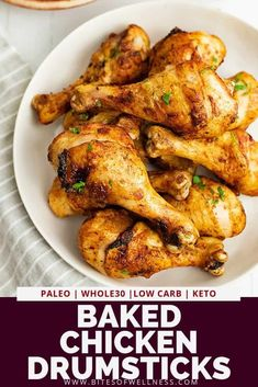 Baked chicken drumsticks recipe is going to become your new go to way to make chicken during the week! These healthy crispy baked chicken legs are so easy to make, inexpensive and super juicy and tend Chicken Leg Recipes Oven, Crispy Baked Chicken Legs, Chicken Drumsticks Oven, Roasted Chicken Legs, Healthy Baked Chicken, Baked Chicken Tenders, Baked Drumsticks, Chicken Thighs, Paleo Recipes