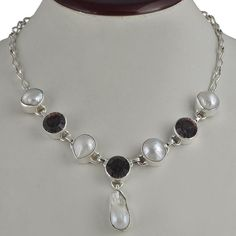 MYSTIC & PEARL 925 SOLID STERLING SILVER NATURAL FANCY NECKLACE 45.49g NK0064 #Handmade #NECKLACE
