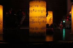 Vintage Sheet Music Flameless Luminary Candle