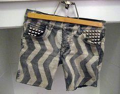 diy chevron jean shorts
