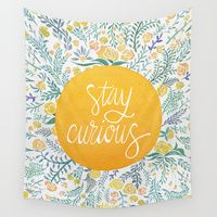 Wall Tapestries featuring Stay Curious by Cat Coquillette