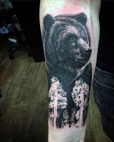 Bear Forearm Tattoo For Men. Tattoos for men Bear Tattoo Tree Tattoo Men, Tree Tattoo Designs, Tattoo Designs For Women, Trendy Tattoos, Tattoos For Guys, Tattoos For Women, Cool Tattoos, Tatoos, Body Art Tattoos