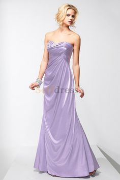 Side-Draped Empire Waist Sweetheart Floor Length Informal & Casual Evening Dress