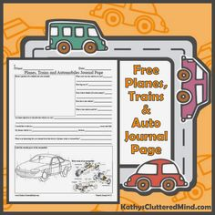 Planes, Trains and Automobiles, Oh My! - FREE Journal Page, Recyclable Craft And A Giveaway