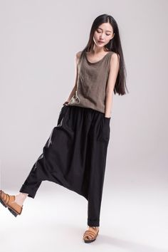 Black Summer Loose Pant Low-crotch Wide Leg Pants by dresstore2000