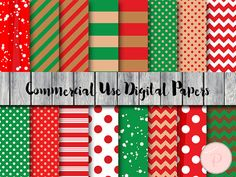 Christmas Digital Papers Santa Xmas Instant by MagicalStudio