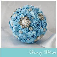 Extra Small Bridal/Wedding Bouquet in baby blue, bling and pearls www.roseandbirch.com www.facebook.com/roseandbirch Handmade bridal/wedding bouquets bouquet