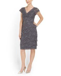 Beaded Stretch Lace Dress