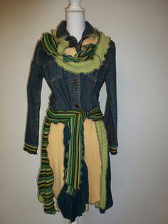 """Kurzmäntel - Patchwork-Jeans-Mantel """"Green"""""""" - ein Designerstück von AutumnFlowers bei DaWanda"""