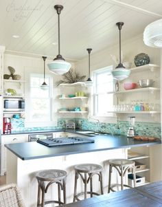 Love The Glass Tile And Tongue U0026 Groove Ceiling. Beach Cottage  KitchensCoastal ... Part 90