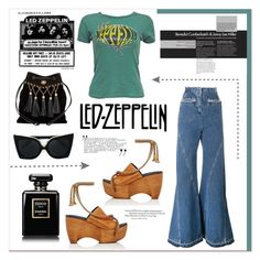 """""""I'm With The Band: T-Shirt Led Zeppelin"""" by stylemaven2 ❤ liked on Polyvore featuring Esteban Cortazar, Simon Miller, N°21, Miu Miu, Chanel, LEDZEPPELIN, bandtees and withtheband"""